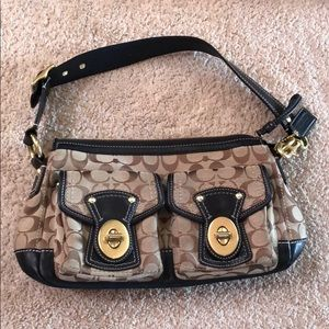 Tan black coach bag